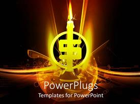 PowerPlugs: PowerPoint template with lighted dollar sign shaped candle on black glowing background