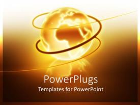 PowerPlugs: PowerPoint template with lighted gold globe with brown swirls
