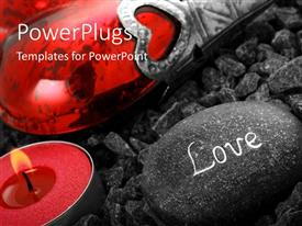 PowerPlugs: PowerPoint template with lighted Heart candle with love inscribed on stone