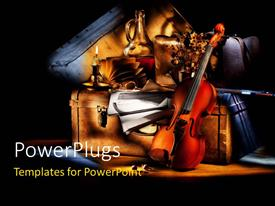 PowerPlugs: PowerPoint template with lighted violin candle and classic violin on suitcase over black background