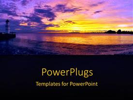 PowerPlugs: PowerPoint template with lighthouse on beach with bright yellow sunset