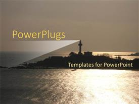 PowerPlugs: PowerPoint template with a lighthouse on the mountain with a clear sky in the background
