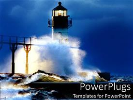 PowerPlugs: PowerPoint template with lighthouse at night in a storm waves crashing beach