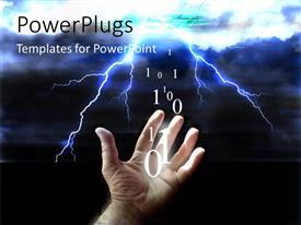 PowerPlugs: PowerPoint template with lightning in cloudy sky with binary codes from mans hand