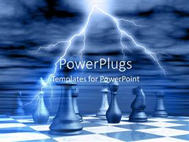 PowerPlugs: PowerPoint template with lightning in cloudy sky over marble chess board with chess pieces