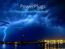 PowerPlugs: PowerPoint template with lightning storm at night over seaside town