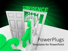 PowerPoint template displaying line of animated green and white human figures going through a white door