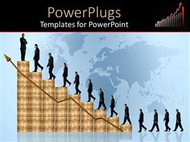 PowerPoint template displaying line of business men coin stack stairs