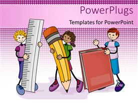PowerPlugs: PowerPoint template with line drawings of three children with ruler pencil book