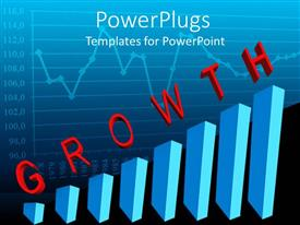 PowerPoint template displaying line graph behind blue bar chart with red letters spelling Growth