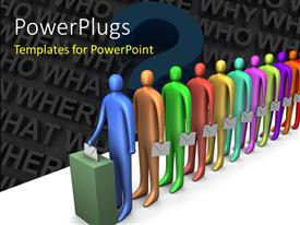 PowerPlugs: PowerPoint template with line of multicolored figures lining up to cast ballots