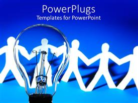 PowerPlugs: PowerPoint template with a line of paper cut human characters and a bulb