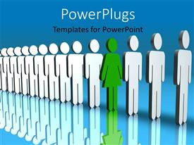 PowerPlugs: PowerPoint template with line of people with reflection in background and green man standing out