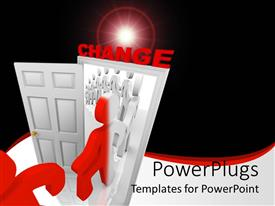 PowerPoint template displaying line of people walk through doorway of change