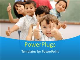 PowerPoint template displaying line of smiling children giving thumbs up to camera