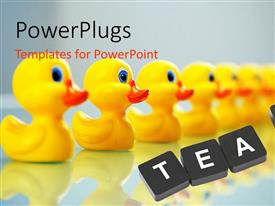 PowerPlugs: PowerPoint template with line up of yellow small rubber ducks with the text team