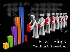 PowerPlugs: PowerPoint template with line of white figures building last part of bar chart