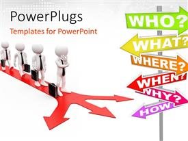PowerPlugs: PowerPoint template with line of white figures carrying briefcases wearing black tie on red forked arrow with question words sign post