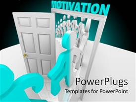 PowerPlugs: PowerPoint template with line of white figures step through a white open door of motivation get changed in light blue color