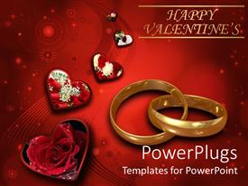 PowerPlugs: PowerPoint template with linked wedding bands with hearts and red roses