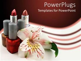 PowerPlugs: PowerPoint template with lipstick with bottles of nail polish and lily on cool background
