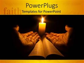 PowerPlugs: PowerPoint template with lit candle behind two hands open on holy book