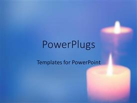 PowerPoint template displaying lit candle with reflection on blue background
