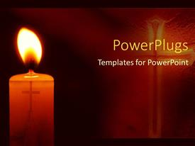 PowerPlugs: PowerPoint template with a lit candle with a small cross inside it