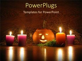 PowerPlugs: PowerPoint template with lit ceramic pumpkin surrounded by orange and purple votive candles
