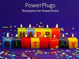 PowerPlugs: PowerPoint template with lit happy birthday candles and rainbow confetti on purple background