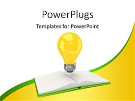 PowerPoint template displaying a lit yellow light bulb over an open book