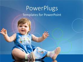 PowerPoint template displaying little baby girl playing and smiling on a blue background