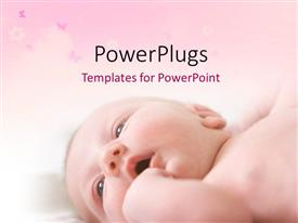 PowerPlugs: PowerPoint template with little baby laying on back with butterflies on pink theme