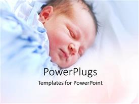 PowerPlugs: PowerPoint template with little baby sleeping peacefully in blue blanket