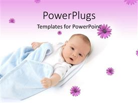 PowerPoint template displaying little baby wrapped in blue blanket over flowery white and purple background