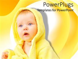 PowerPlugs: PowerPoint template with a little baby in yellow on a yellow colored background