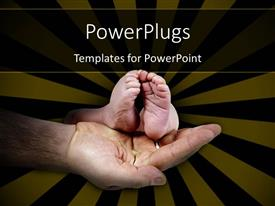 PowerPlugs: PowerPoint template with little baby's foot in father's hand on black and yellow