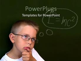 PowerPlugs: PowerPoint template with little boy with eye glasses over chalkboard with Einstein relativity formula