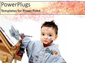 PowerPlugs: PowerPoint template with little boy playing with paint and paintbrush