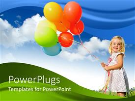 PowerPoint template displaying little girl holding lots of colorful balloon's with blue skies