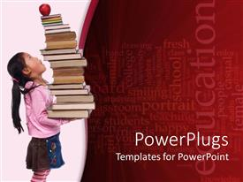 PowerPlugs: PowerPoint template with little girl holding stack of books with an apple on top white and red background