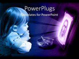 PowerPlugs: PowerPoint template with little girl kneeling and praying with a picture of Jesus Christ