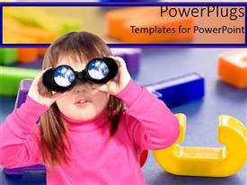 PowerPoint template displaying little girl looks through binoculars with colored letters in background
