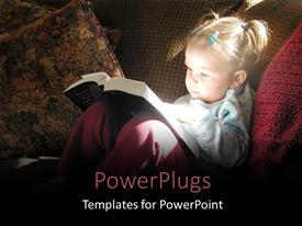 PowerPlugs: PowerPoint template with little girl reading Bible with sunlight reflecting off book back onto her face with sofa