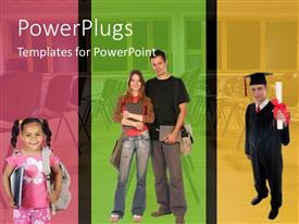 PowerPoint template displaying little girl ready for school, pair of older students, and graduate with classroom background