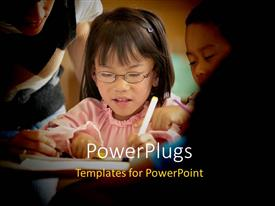 PowerPoint template displaying little girl seated in classroom with colleagues learning