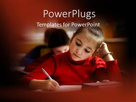 PowerPoint template displaying little girl taking notes in classroom with blurred borders