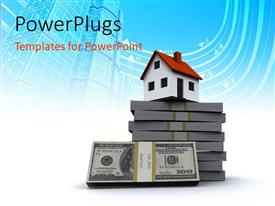 PowerPlugs: PowerPoint template with little house and pack of hundred dollar bills with blue finance concept