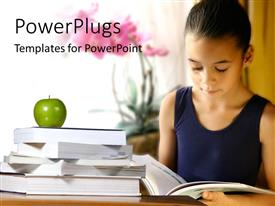 PowerPoint template displaying little keep studying from open book with green apple on book stack