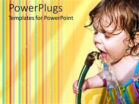 PowerPoint template displaying little kid drinking from garden hose with colorful striped background